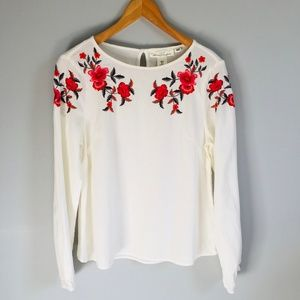 H&M LOGG White Long-Sleeve with Rose Embroidery
